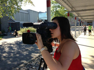 BCIT TV student, photographed by John Mills.