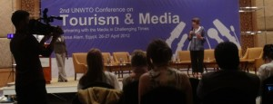 Erica Hargreave speaking to a UNWTO Conference.
