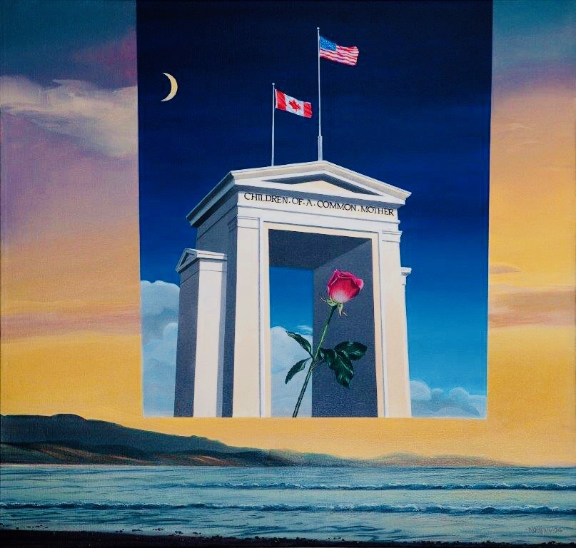 Peace Arch, an acrylic painting by Denis Nokony, celebrating the unity and friendship between Canada and the United States